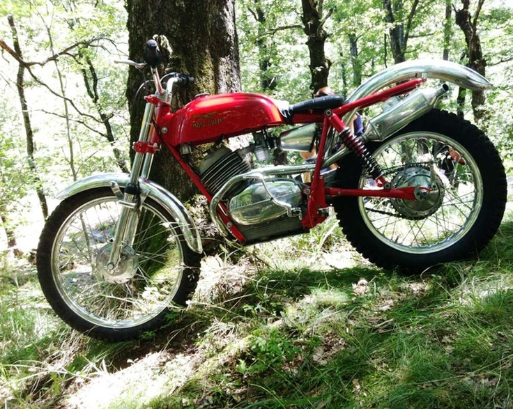 Here's one Moto Guzzi I've never seen before: a very stylish vintage trials bike.