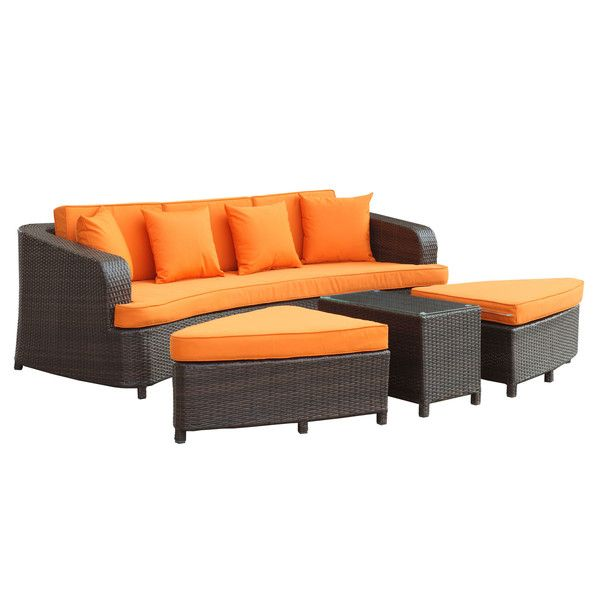 Great (Outdoor Cane Furniture)LexMod Monterey Outdoor Wicker Rattan Sectional Sofa  Set, Brown And Orange Amazing Design