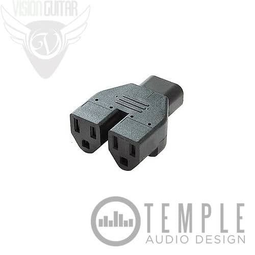 Temple Audio Design IEC to NEMA 5-15 Splitter Use this cable to convert the standard IEC cable end to 2 (Two) NEMA 5-15 North American Style outlets. Use for standard wall wart power supplies or anything that usually plugs into the wall. Features: Converts the standard IEC cable end to...