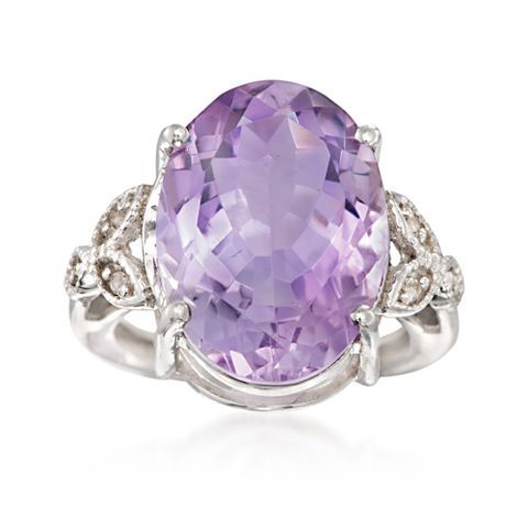 This ring is positively enchanting! 10.00 ct. Pink Amethyst Ring with White Topaz Accents in Sterling Silver, Item no. 844685