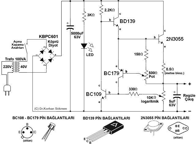 Herkes İçin Elektronik: 1-40 Volt, 50 mA - 5A Ayarlı Güç Kaynagı Devresi