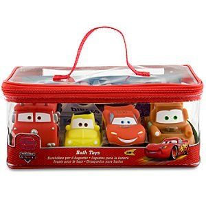 $32.25-$9.95 Baby Disney Cars Bath Toys Set - 4 Pc. - Designed by Disney Stores Europe Rub-a-dub-dub, they'll race for the tub! Our Cars Bath Toys Set waxes the competition when it's time for a personal car wash. This team of four soft plastic vehicles are sporty squeeze-toys to make every bath a bit more bubbly. Imported. . Set includes Lightning McQueen, Tow Mater, Luigi and Red . Comes in a z ...