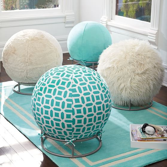 Now that is a cool way to disguise your exercise ball and work your posture!