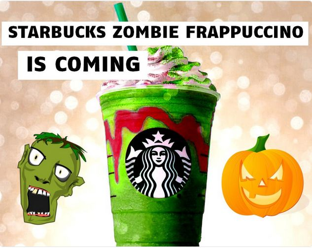 """Starbucks  Zombie Frappuccino will reportedly be made with a cream Frappuccino base blended with green caramel apple powder and pink powder to make it bright green and colorful """"like a cartoon zombie."""" It's topped with pink whipped cream designed to look like brains, and a pink mocha drizzle on top."""