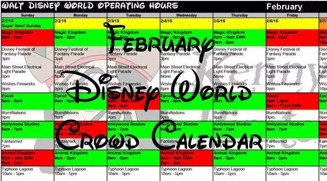 Disney World Crowd Calendar February 2018, park hours, show schedules, Fastpass+ booking dates, dining booking dates, best parks