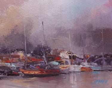 "Saatchi Art Artist Andres Vivo; Painting, ""4252 Coming storm aproaching the docks"" #art"