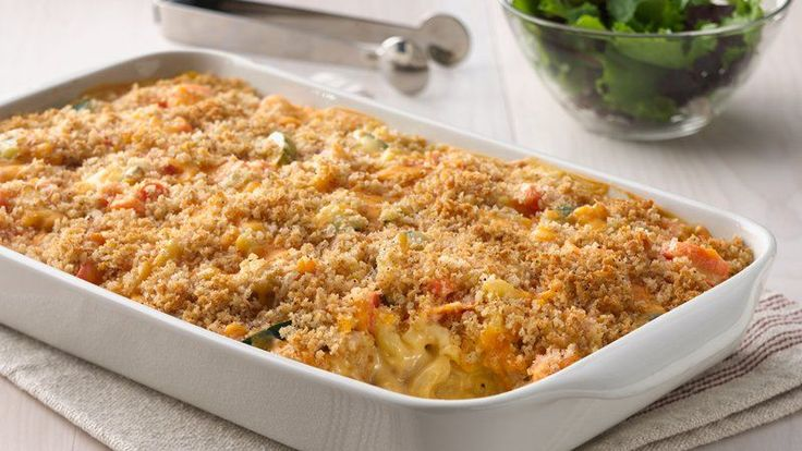 Take your mac and cheese weeknight dinner to a whole new level with this veggie-kissed casserole. The crunchy cheese-and-bread-crumb topping makes a perfect finish for the creamy filling.