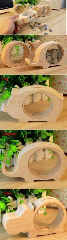 Wood Animal Piggy Bank