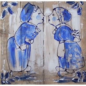 Ik vond dit op Beslist.nl: schilderij man kust vrouw delftsblauw steigerhout 60 x 60 cm}