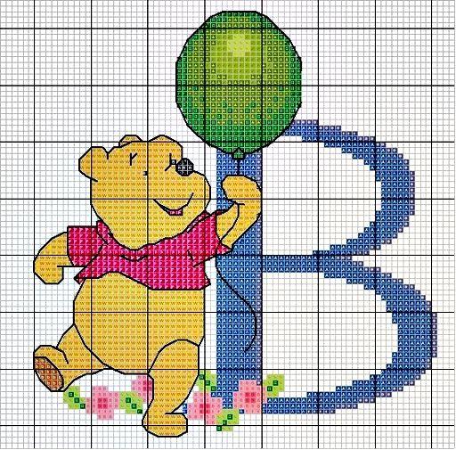 #Monograma Ursinho Pooh - letra B #bordado #CoatsCorrente