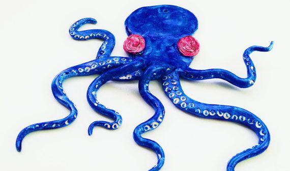 blue purple octopus wall decor ornament home decor by Kats13stuff