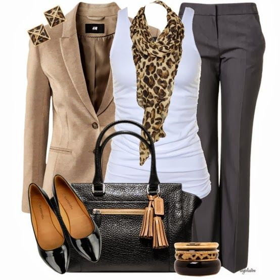 Pinned this one because I didn't expect the grey slacks paired with the camel and leopard. Cool twist. Needs to be that grey, lighter wouldn't work as well.