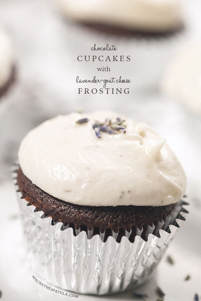 Chocolate Cupcakes with Lavender-Goat Cheese Frosting