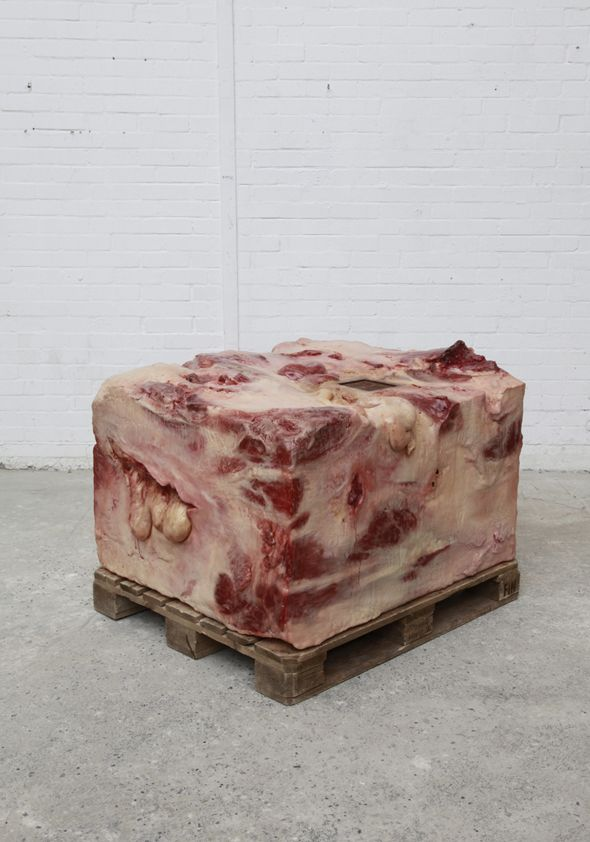 John Isaacs, Things that can be are that which we know, 2011, wax, oil paint, polystyrene, wood, steel, latex and stage blood