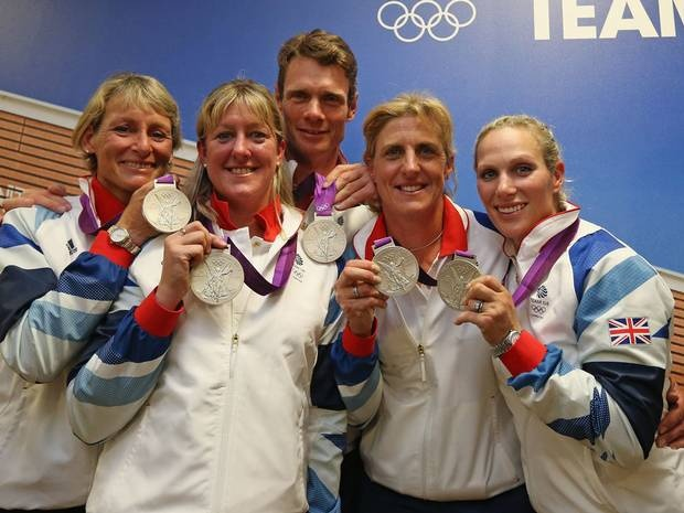 Team GB wins silver for team eventing on day four of the Olympics: Mary King, Nicola Wilson, William Fox-Pitt, Kristina Cook and Zara Phillips
