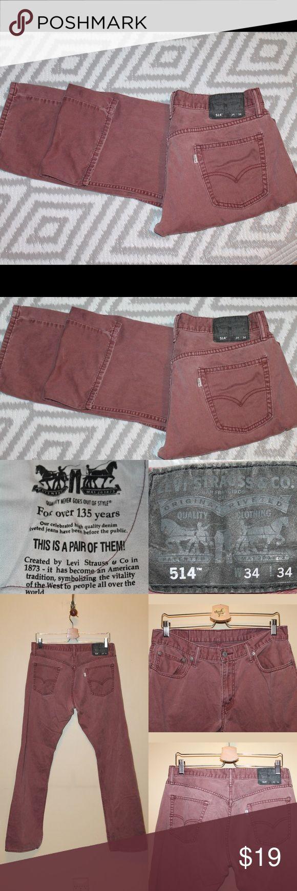 LEVI'S 514 Maroon Jeans Maroon Denim wash jeans Levi's 514 34x34 Levi's Jeans Bootcut