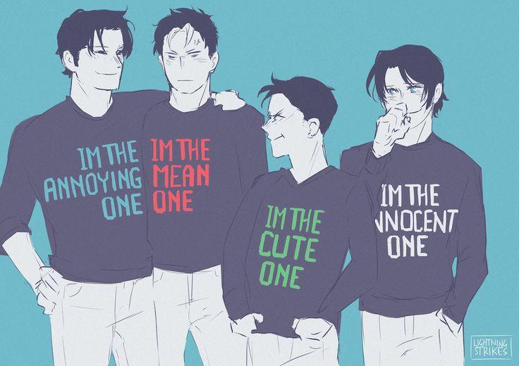 Batboys. Dick Grayson, Jason Todd, Damian Wayne, & Tim Drake. In my opinion Damian and Dick should switch ❤