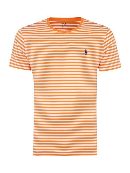 acf3dedf218 Polo Ralph Lauren Basic Stripe Crew Short Sleeve Tee - Orange Mens Polo  Ralph Lauren T-Shirts