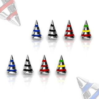 Striped Surgical Steel Spike Balls - Spare Parts for 14 gauge Body Jewellery. Find it at www.tummytoys.com.au