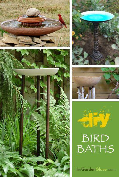 DIY Bird Baths ideas from http://www.thegardenglove.com/ !