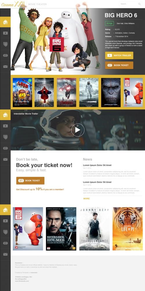 Movie Cinema Website PSD Template