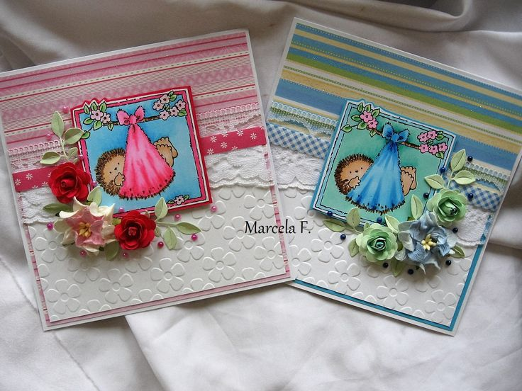 baby cards, handmade color
