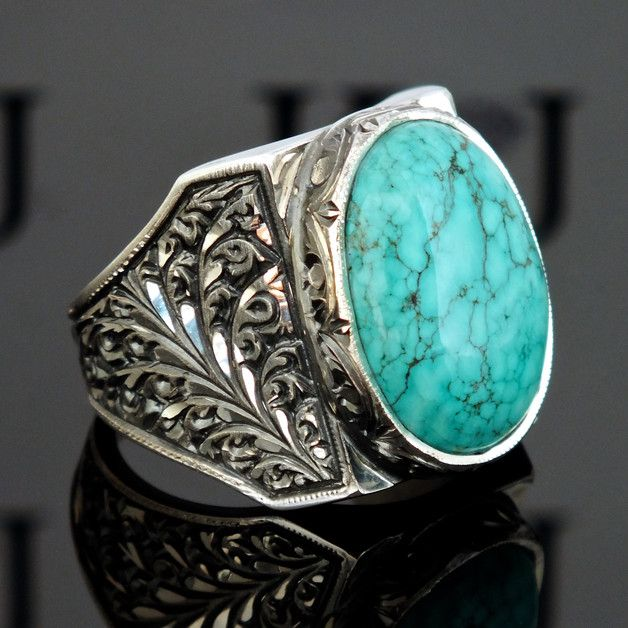 Sterling Silver Mens ring with Turquoise unique handcrafted jewelry