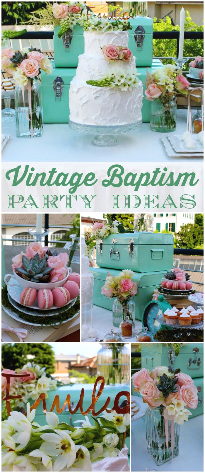 Such a lovely baptism party with antique tablecloths and pastel colors! See more party ideas at CatchMyParty.com!