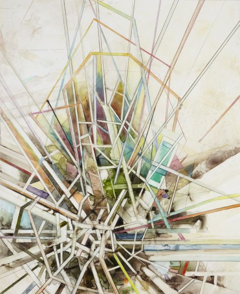Steven Bindernagel, Untitled, 2011, Watercolor and colored pencil on yupo paper, 27 X 22 inches