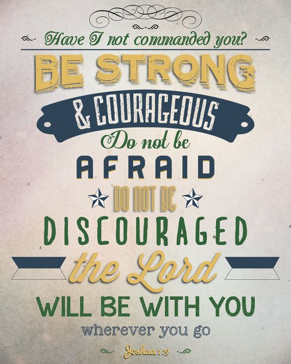 Joshua 1:9 Bible Verse Lyrics Retro Vintage Typography Poster 20x30 Be strong and courageous Do not be afraid do not be discouraged...