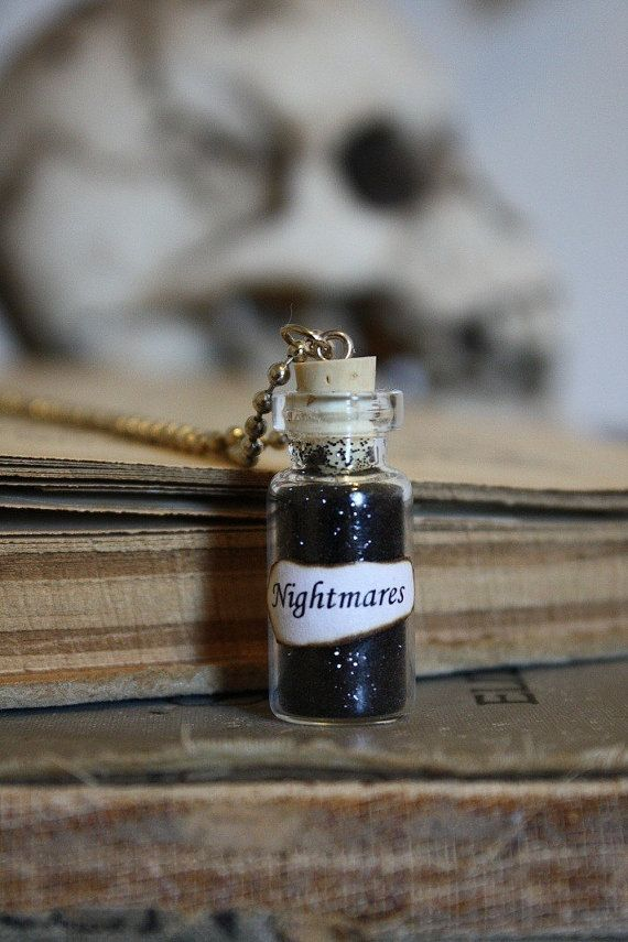 Glass Vial Necklace Nightmares Halloween Jewelry by spacepearls