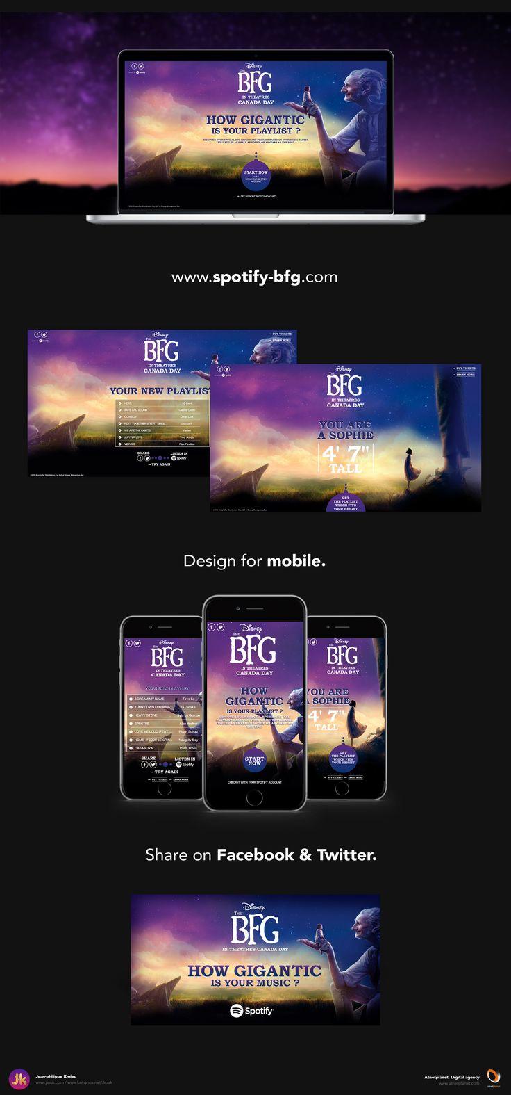 Réalisation de la Direction Artistique du mini-site The BFG-Spotify à l'occasion de la sortie du film Le bon gros géant au cinéma.