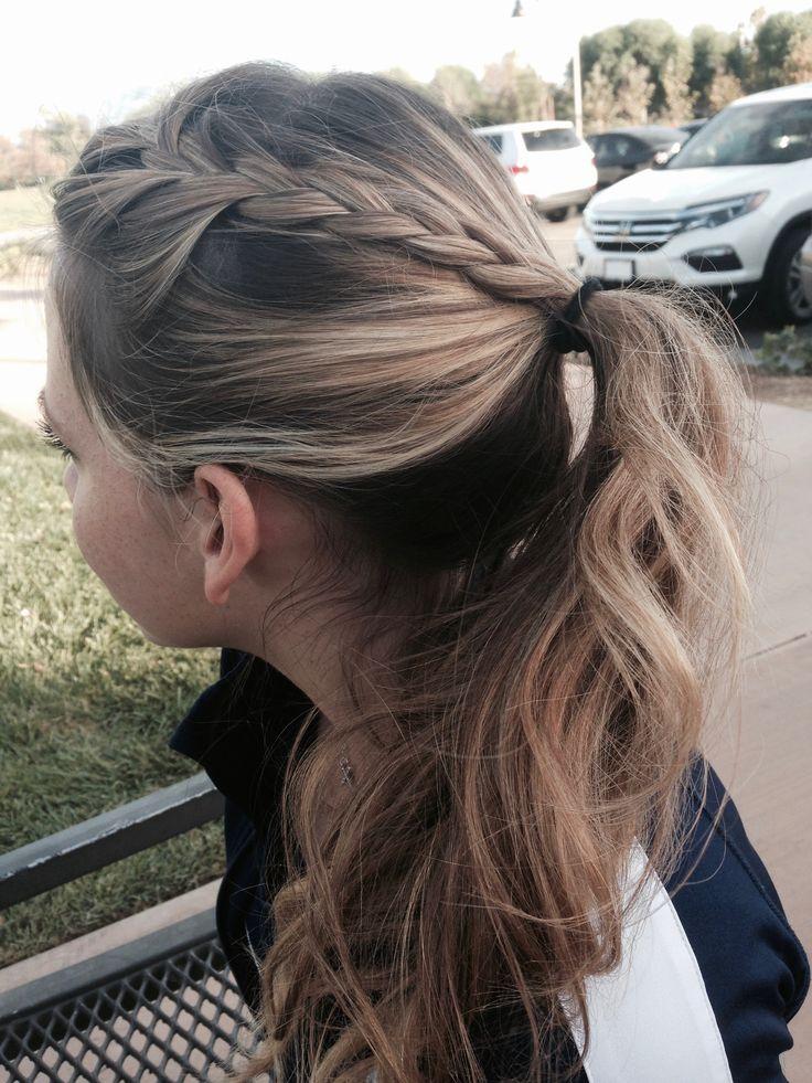 french braid into low ponytail // pinterest: karinaxnicole