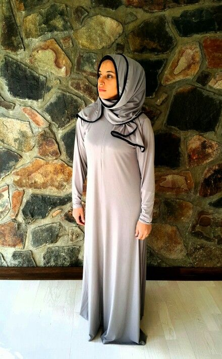 Neutral abaya with scarf attached