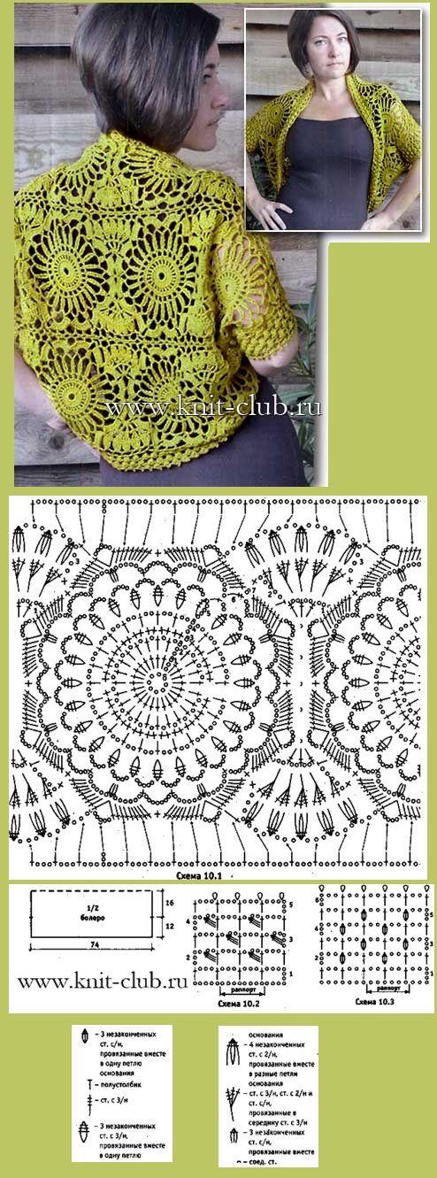 Болеро из крупных солнечных мотивов. liveinternet.ru/users/koketka1255/post334386666/# crochet motifs jacket