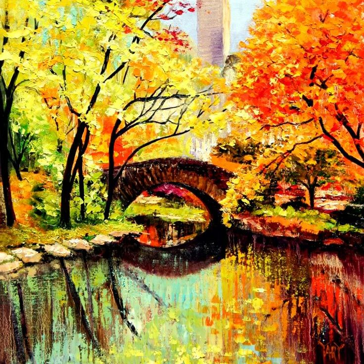 New York Central Park Original Art Oil Painting Photo By