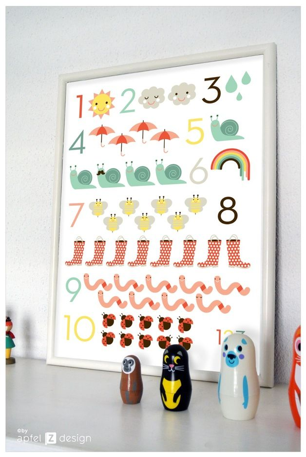 Poster zum Zählen lernen, Einschulung / artprint, learn how to count, first day of school by sware shop via DaWanda.com
