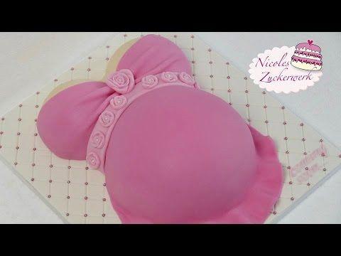 Babybauch Torte für Baby-Party | Baby Shower Cake | von Nicoles Zuckerwerk - YouTube