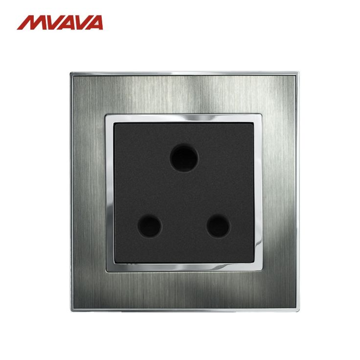 MVAVA 15A 3 Round Pin Socket South Africa Receptacle Standard Wall Plug Luxury Silver Satin Metal Wall Outlet Free Shipping