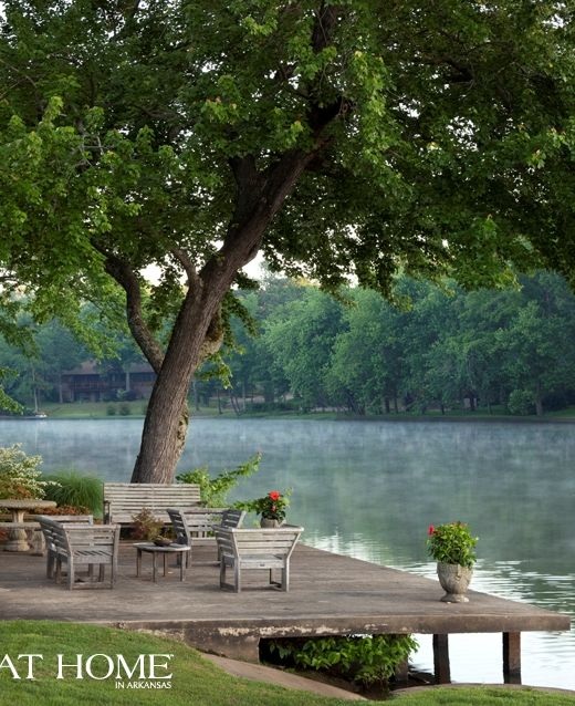 Outdoor deck and lake from At Home in Arkansas