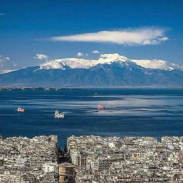 Mount Olympus as seen on a clear day from the upper part of Thessaloniki, Greece