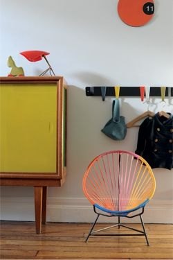 Great color scheme for the mid century piece of furniture. #painted furniture