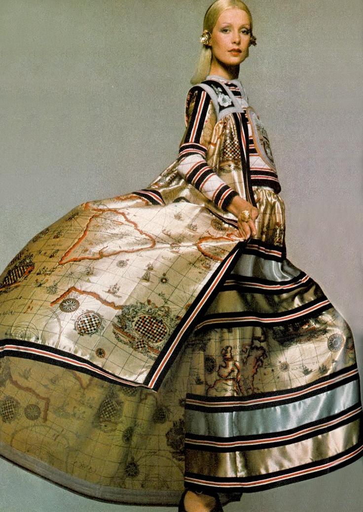 Map Gown: 70S Fashion, Evening Dresses, Gowns Dresses, Uk Vogue, Fashion Prints, Vogue Uk, Bill Gibb, Aodai, Clive Arrowsmith