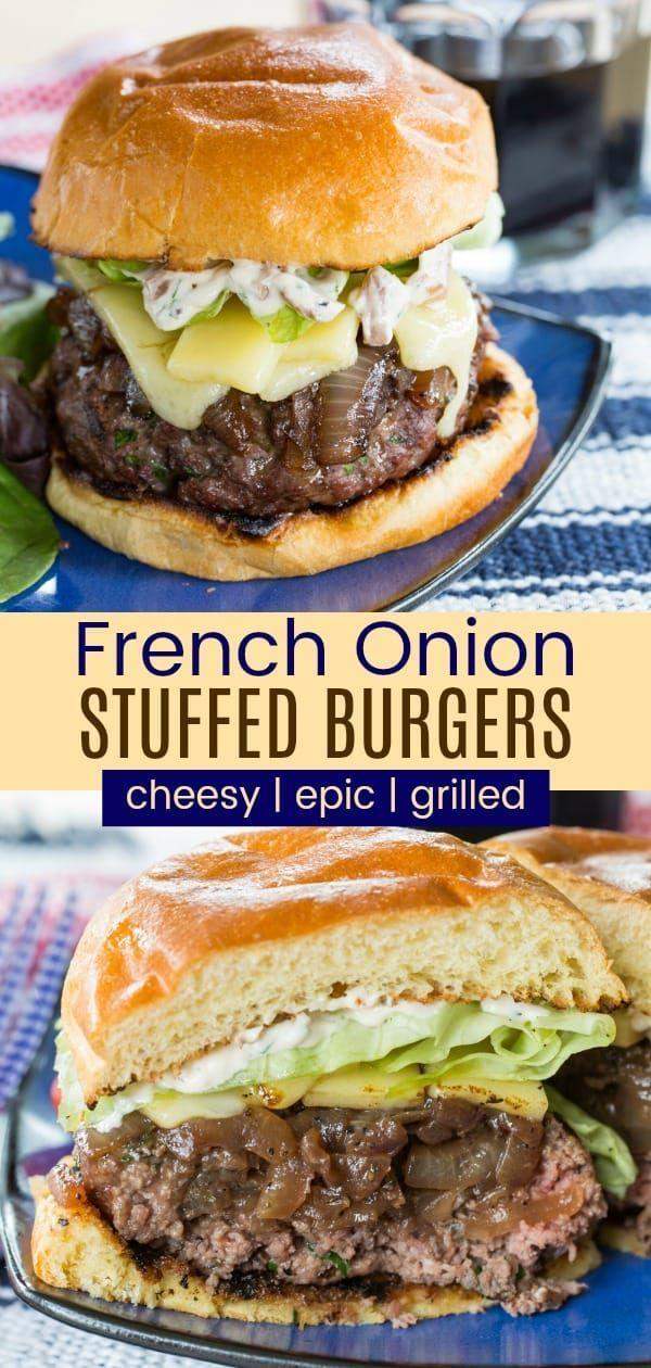 French Onion Stuffed Burgers Au Gratin Cupcakes Kale Chips Recipe French Onion Onion Burger Burger Recipes