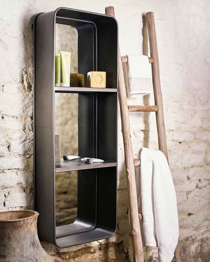 Rectangular Wall Mirror with Two Shelves, Large | Free Delivery