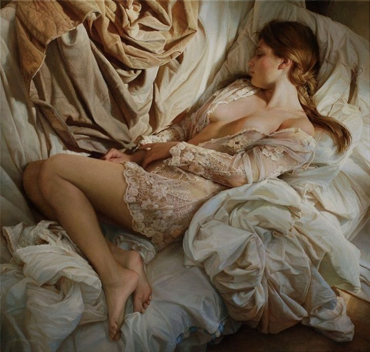 This artist draws upon techniques derived from 19th century Russian art in order to deliver spellbinding paintings of women wrapped in sheets.