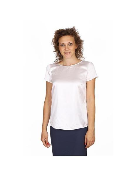Armani Collezioni ladies shirt short sleeve without buttons RMC05T RM301 101: Armani Collezioni ladies shirt short sleeve without buttons RMC05T RM301 101 White 36 IT - 0 US