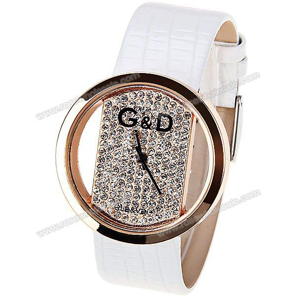 Wholesale Quartz Watch with Hollow-out Dial Leather Watch Band for Women - White (WHITE), Women's Watches - Rosewholesale.com