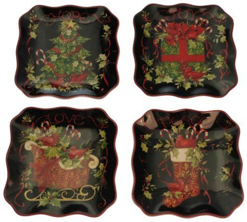 Certified international vintage christmas 6 inch canape for Christmas canape plates