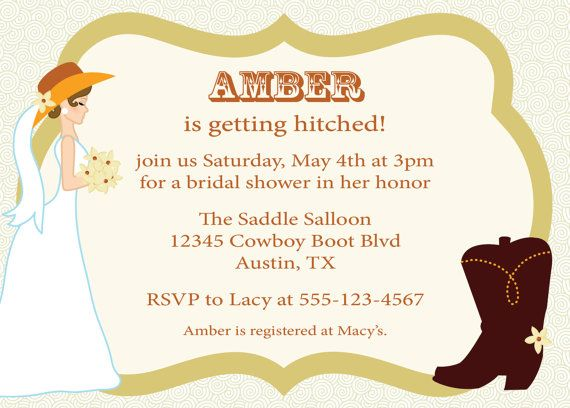 Free Printable Bridal Shower Invitations Western | ... Bridal Shower Invitation Western Wedding Invite Custom DIY Printable